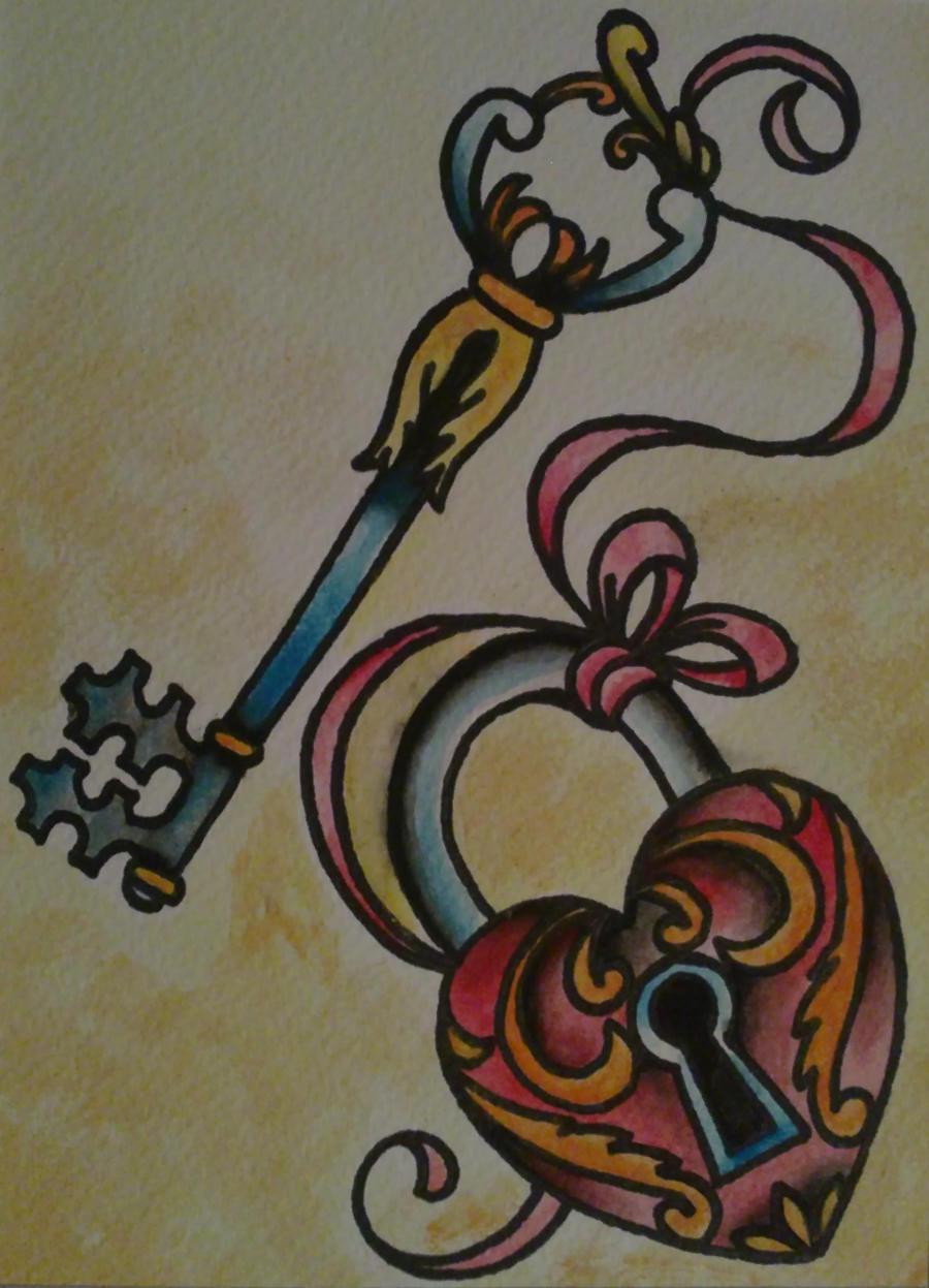 Heart lock and key by psychoead on deviantart for Heart lock and key tattoo