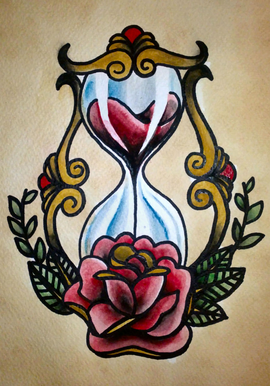 American Traditional Skull Flash Traditional tattoo 'hourglass'