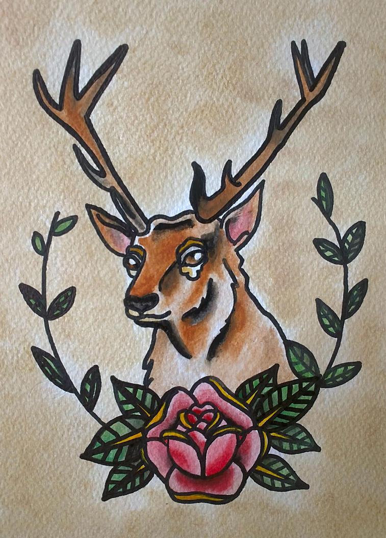 traditional tattoo 39 deer 39 by psychoead on deviantart. Black Bedroom Furniture Sets. Home Design Ideas