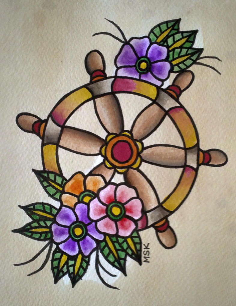 Traditional tattoo ' Ships Wheel ' by Psychoead on DeviantArt