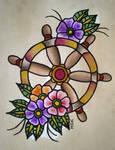 Traditional tattoo ' Ships Wheel '