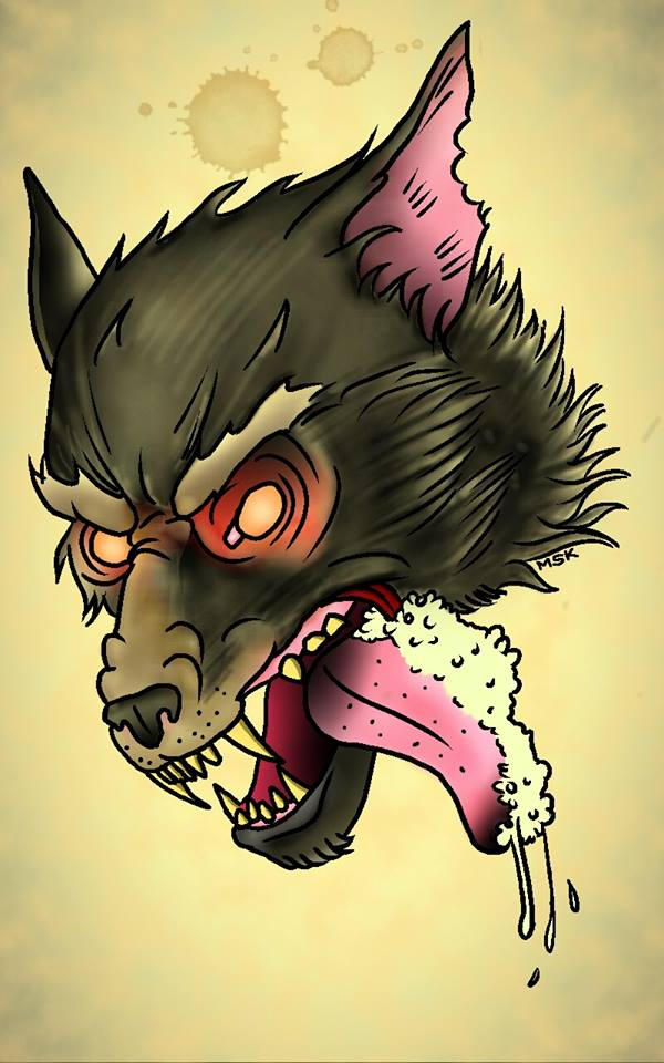 Traditional tattoo wolf by psychoead on deviantart for Wolf tattoo traditional