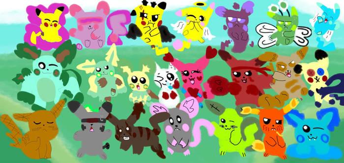 All Pikalutions + Cali Pikachu Line - All Together