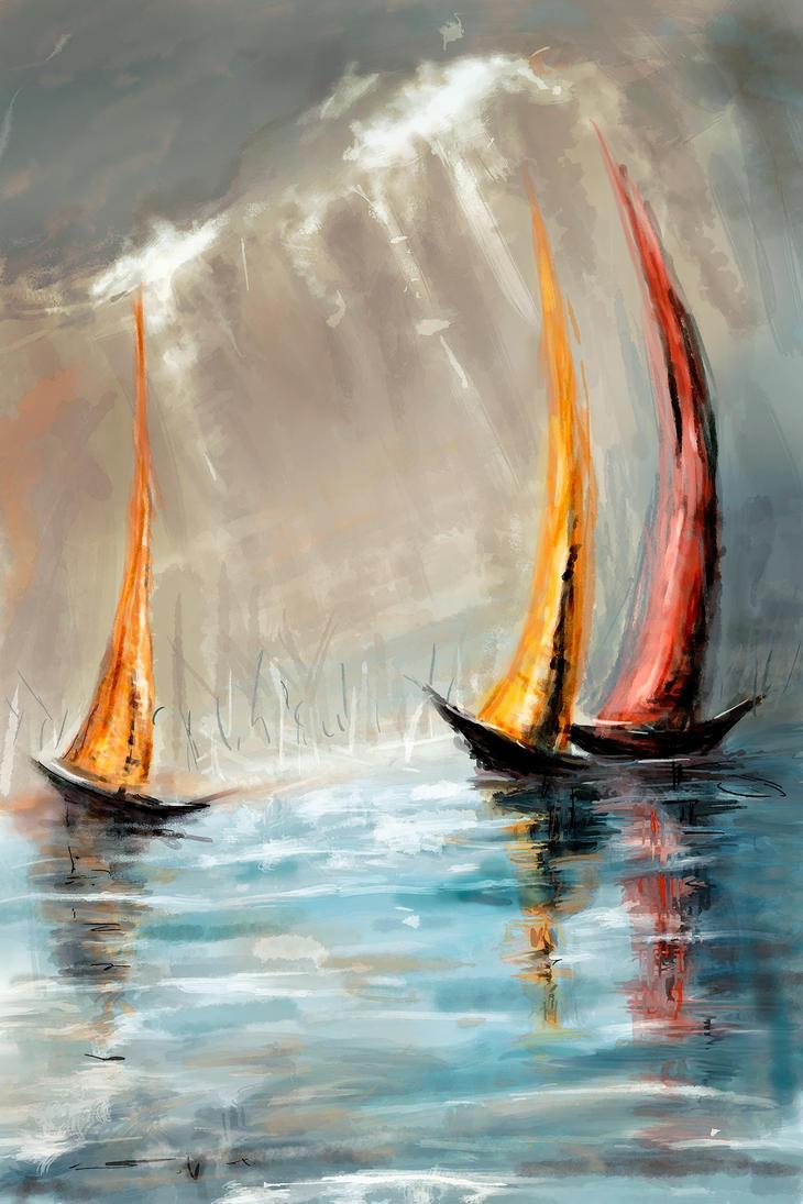 Sailboats by Krzyzowiec