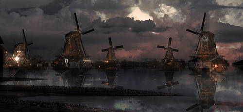 windmills city by Dye-Evolve