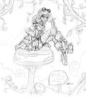 Steampunk Alice Sketch by NoFlutter