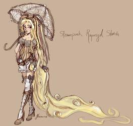 Steampunk Rapunzel Sketch by NoFlutter