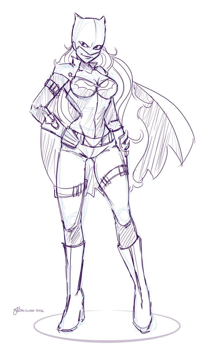Rough Batgirl Design Sketch by NoFlutter