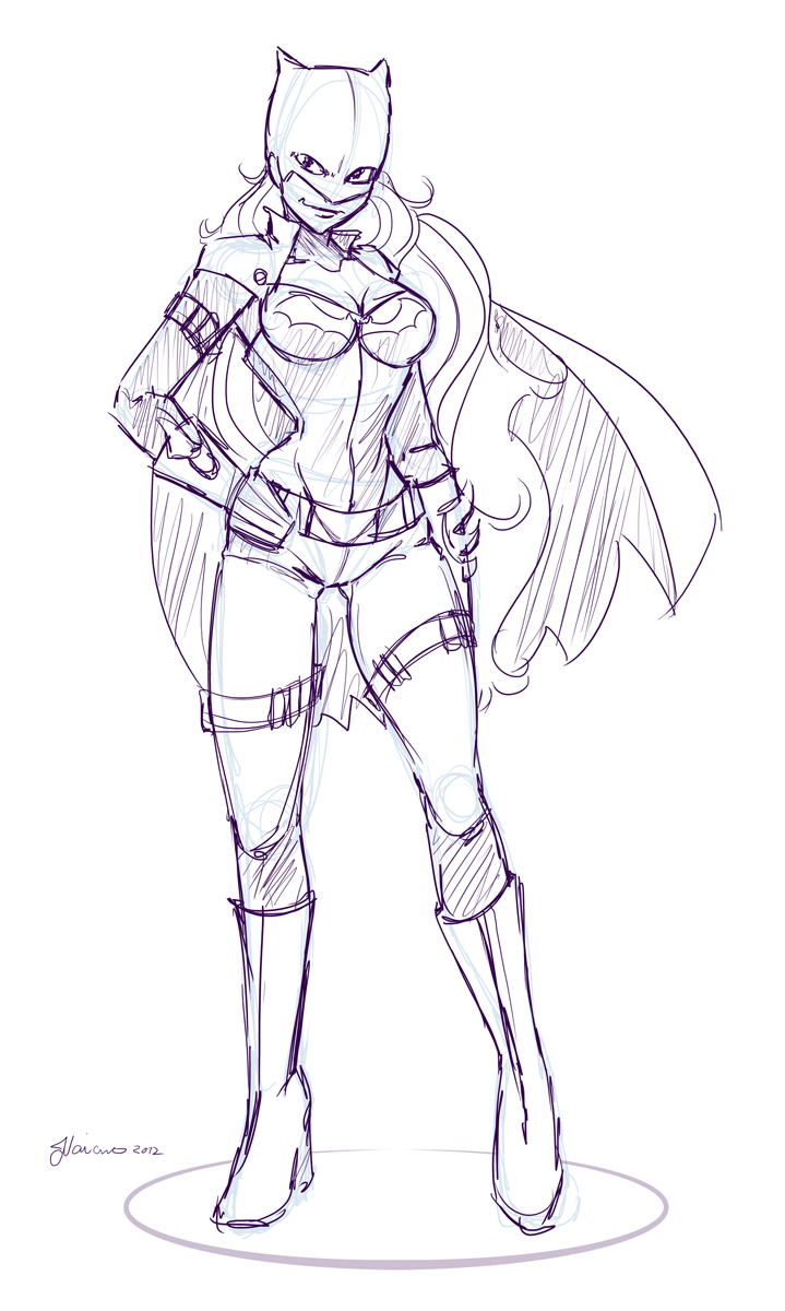 Rough Batgirl Design Sketch by NoFlutter
