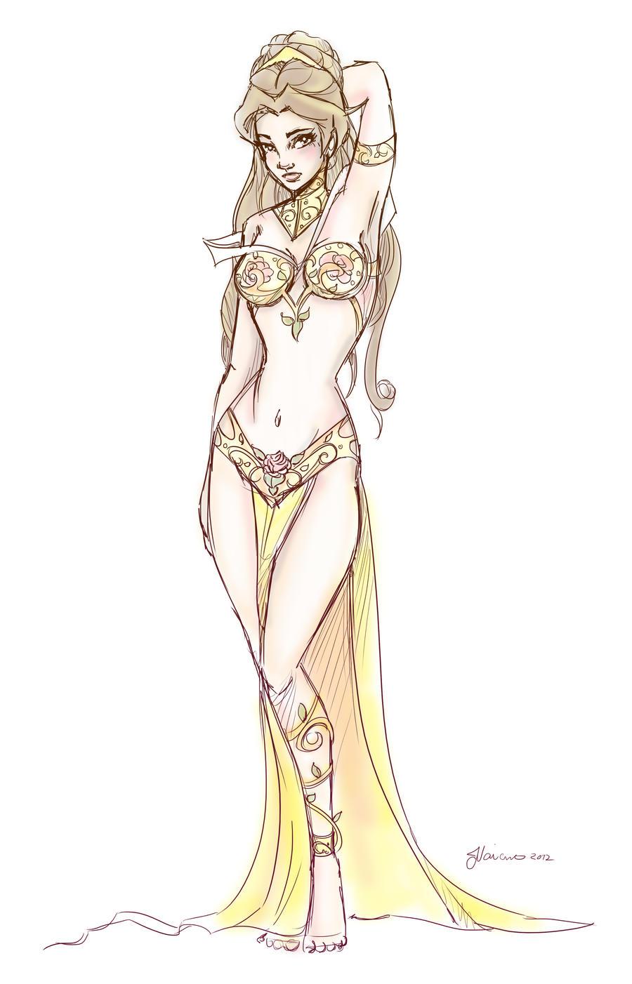 Slave Leia Belle Design Sketch by NoFlutter