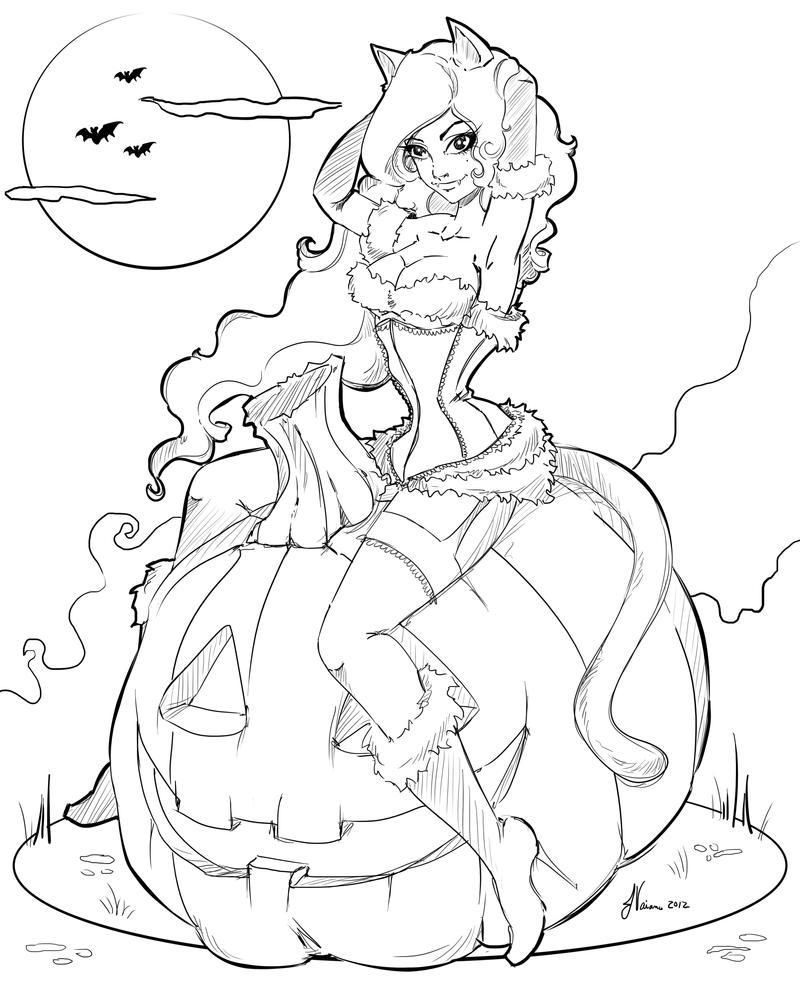 line art coloring pages - line work halloween 2012 by noflutter on deviantart