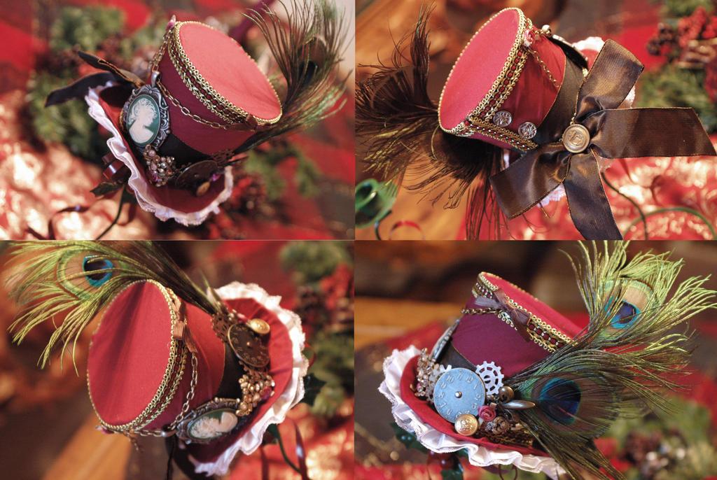 Maroon Steampunk Hat by NoFlutter