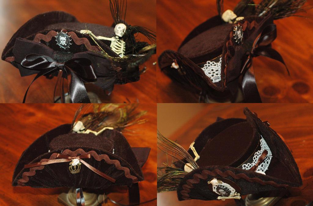 Dark Velvet Tricorn Hat by NoFlutter
