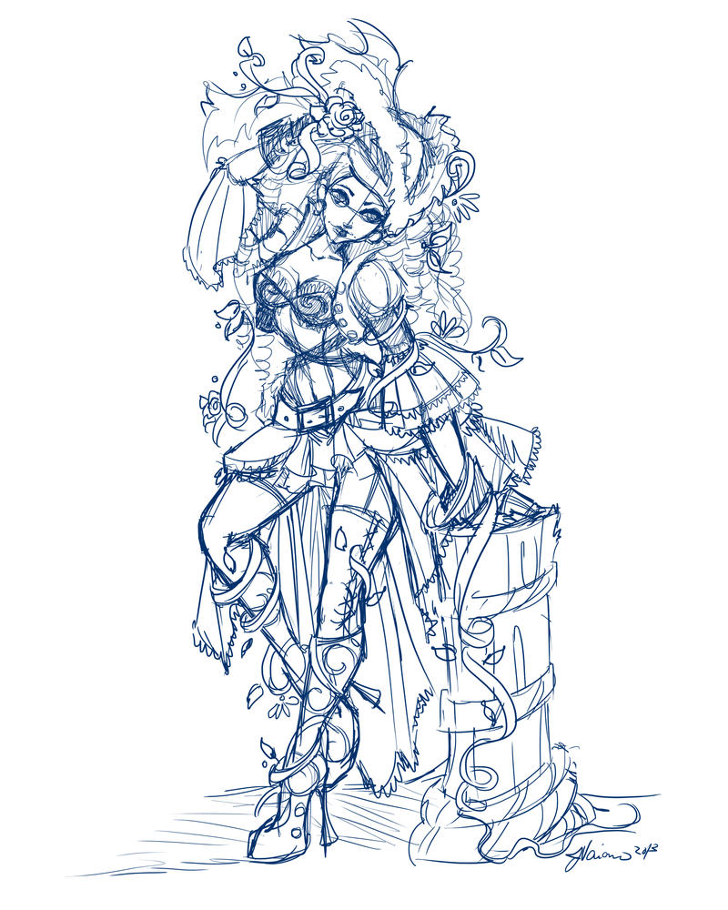 Pirate Poison Ivy work in progress Sketch by NoFlutter
