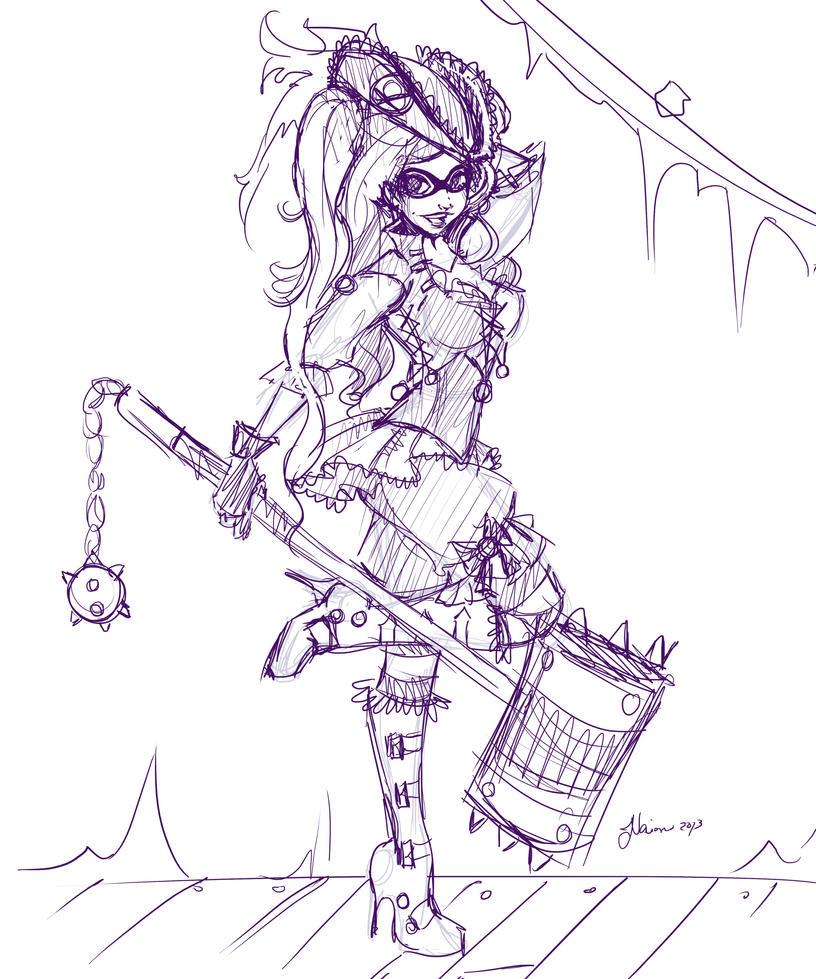 Pirate Harley Sketch by NoFlutter