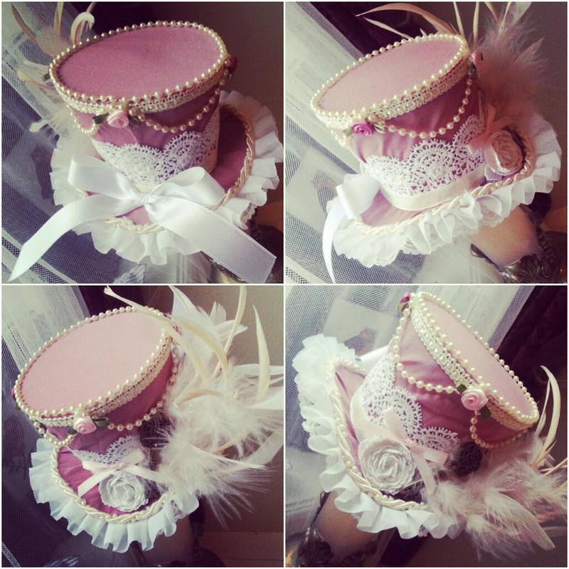 Pink and Cream Elegant Mini Top Hat by NoFlutter