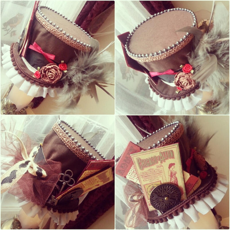 Brown and Red Steampunk Mini Top Hat by NoFlutter