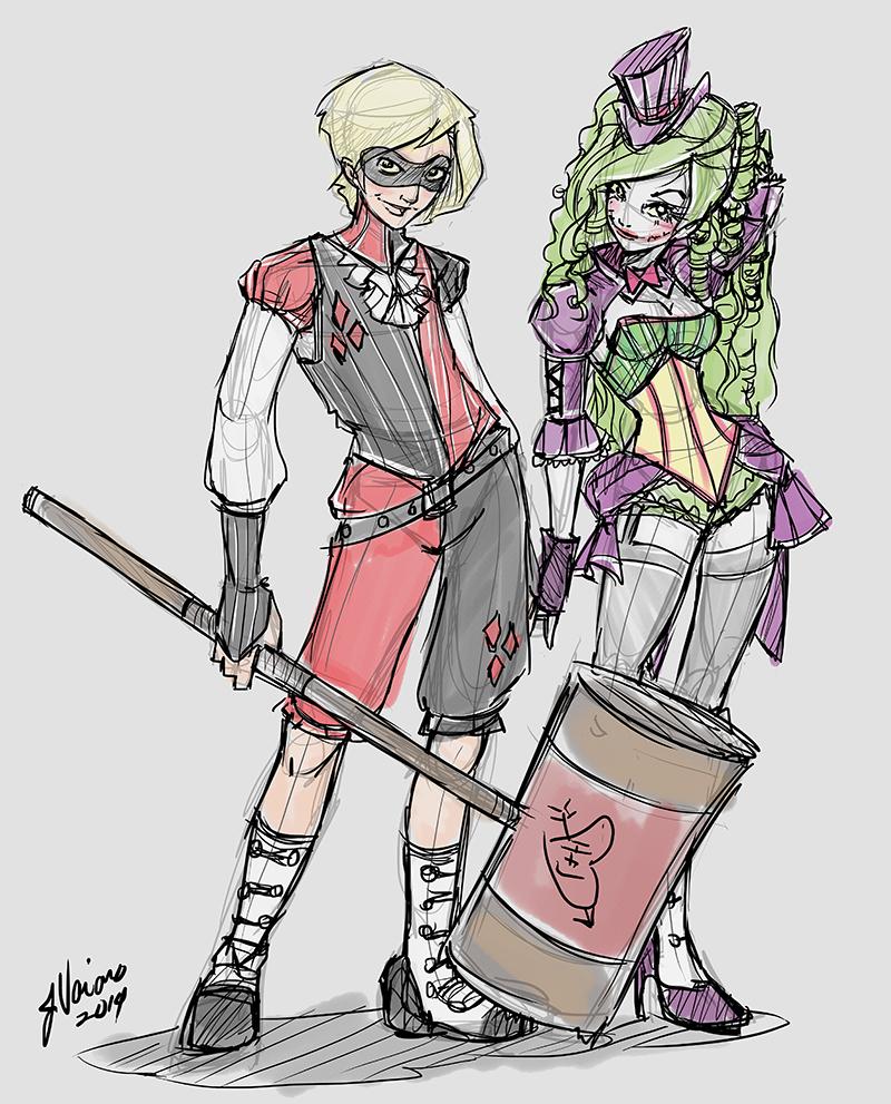 Genderswap Harley and Joker Sketch Idea by NoFlutter
