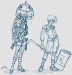 Genderswap Harley and Joker Sketch Idea 2