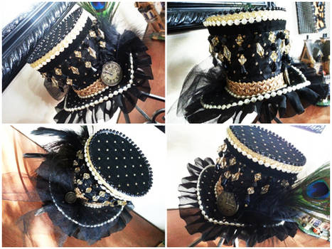 Black and Gold Mini Top Hat