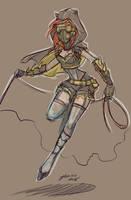 Steampunk Batgirl Re Sketch by NoFlutter