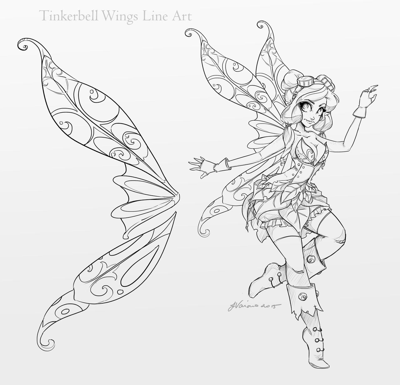 Line Drawing Wings : Tinkerbell wings line art by noflutter on deviantart