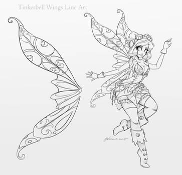 Tinkerbell Wings Line Art