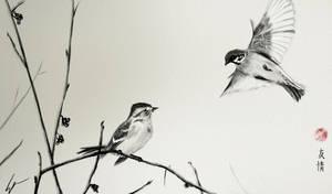 Sparrow Sumi-e