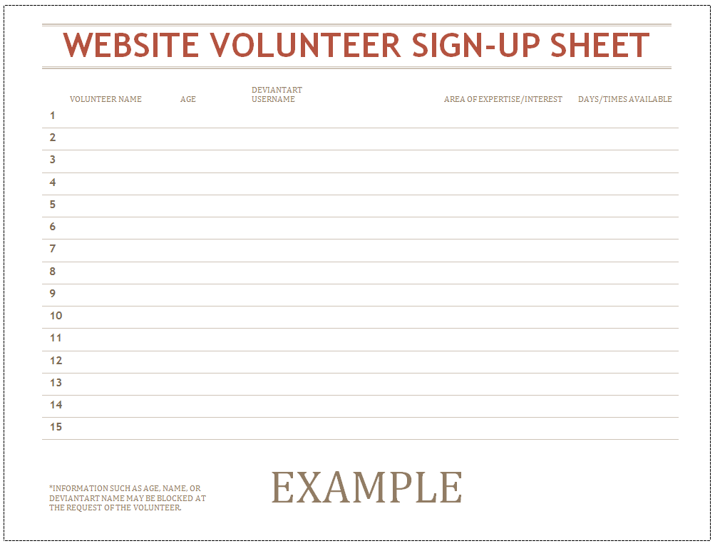 Doc610487 Volunteer Sign Up Sheet Template Sign Up Sheets – Volunteer Sign Up Sheet Printable