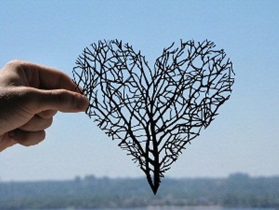 Branches Heart Handmade Original Papercut by DreamPapercut