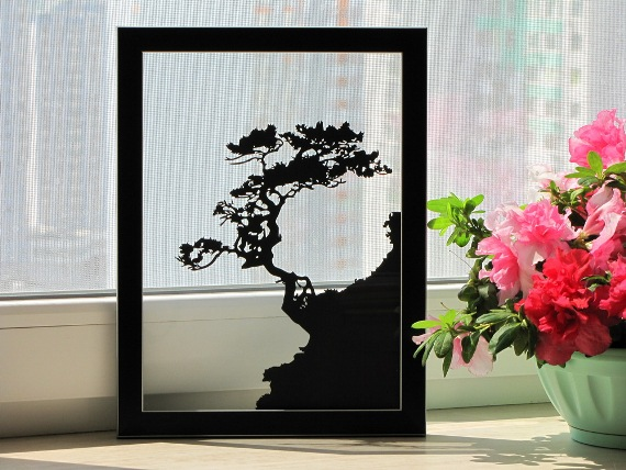 Tree on a Rock Handmade Original Papercut by DreamPapercut