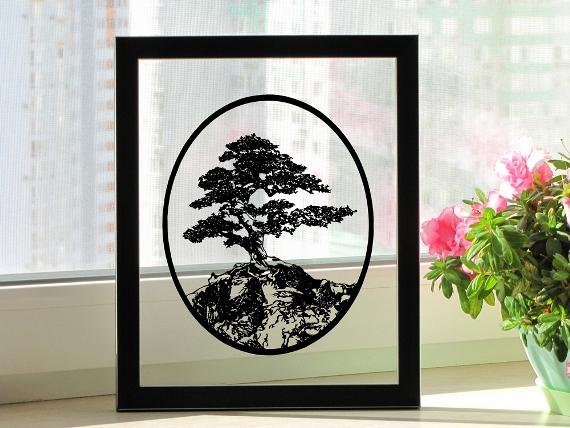 Bonsai Tree Handmade Original Papercut by DreamPapercut