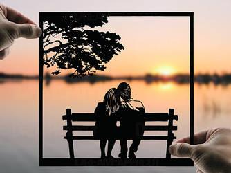 Romantic Evening Handmade Original Paper Cut by DreamPapercut