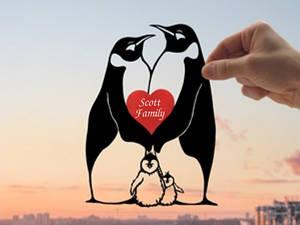 Penguins Family Handmade Original Paper Cut