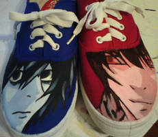 Painted Light and L shoes by HannahSheep