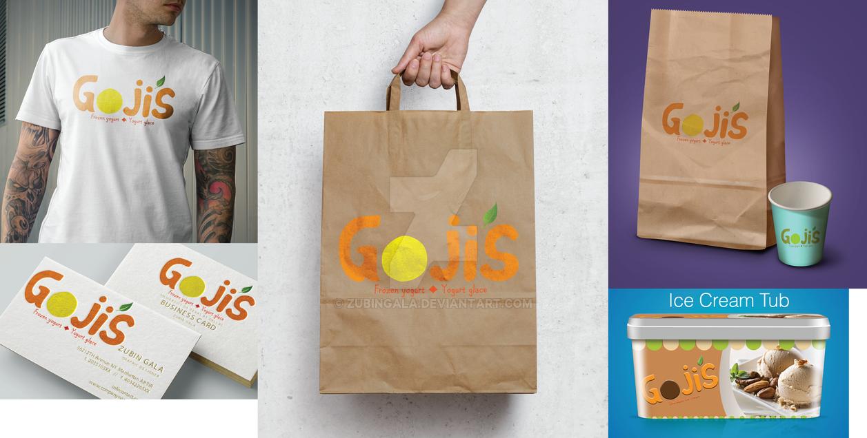Goji's Frozen Yogurt Logo Redesign Mockups-1 by zubingala