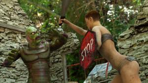 Apocalypse Girl Attacks Swamp Creature