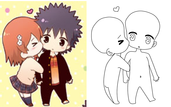 Kissing Chibi Base by CatSoupBases on DeviantArt