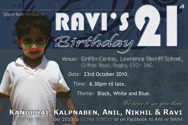 Ravi 21st Invite