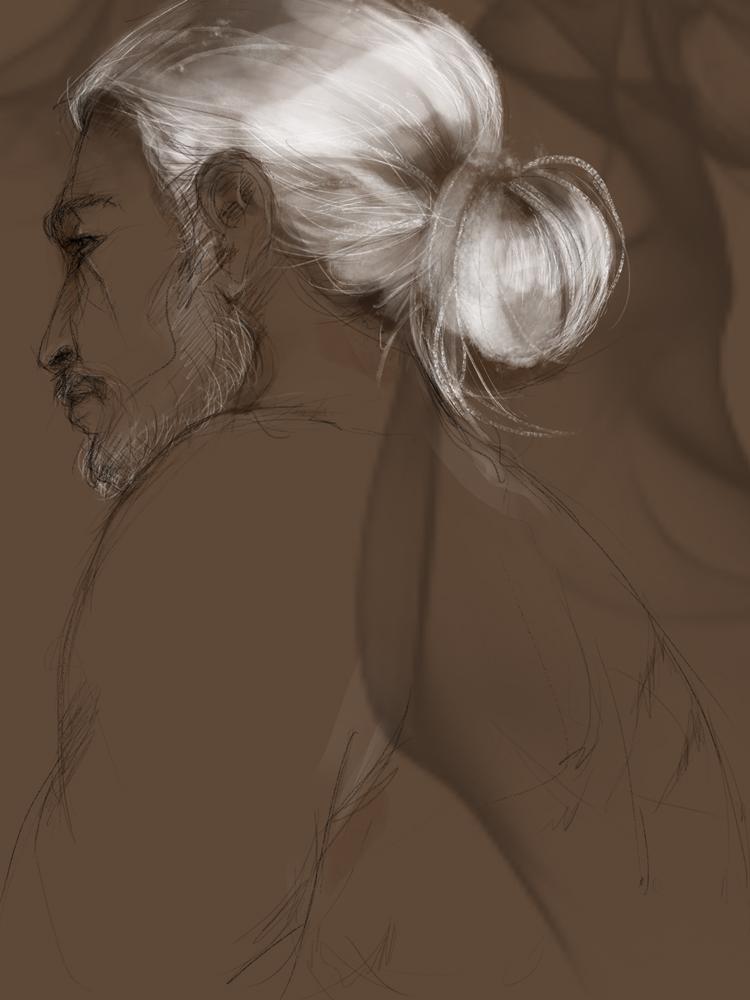 Geralt with a bun