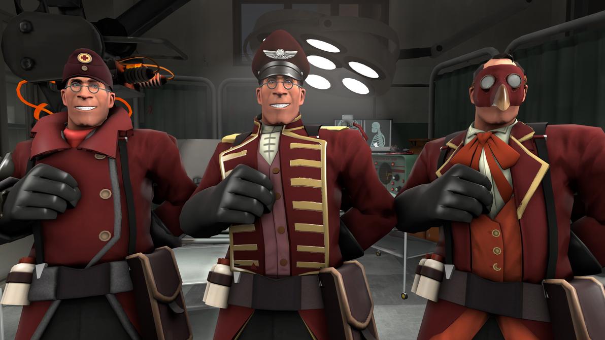 sfm tf2 skin medic burgundy with hats by