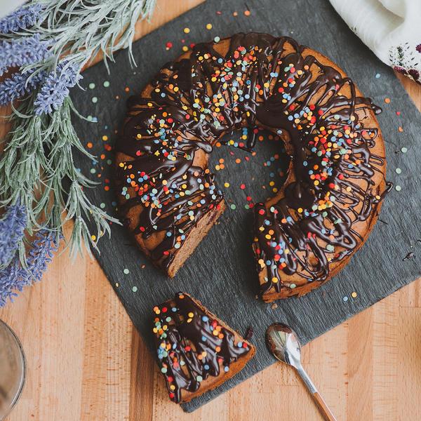 chocolate cake with cherries by lesyakikh