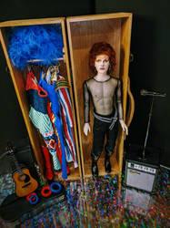 David Bowie as Ziggy Stardust Custom doll/trunk by dollsbydell