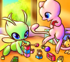 Mew and Celebi playing by everydayLegendaries