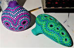 WIP  - Dot painting my 3D-printed Ocarinas by CorvidCreates