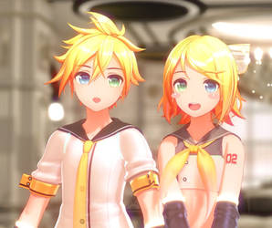 [MMD/DL] YYB Len and Rin ! [model/dl] by BrightShadowMMD
