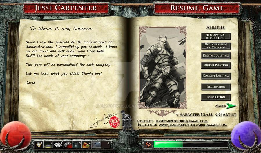game artist resumes