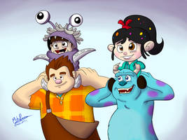Happy Birthday Monsters Inc n' Wreck-It Ralph by NoDiceMike