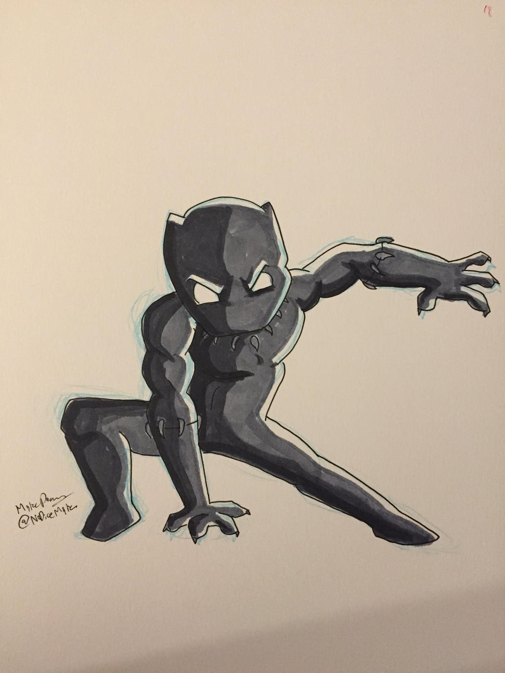 Inktober 2017 - Day 19 - Black Panther by NoDiceMike