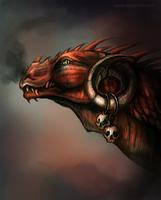 Red dragon portrait by Raxrie